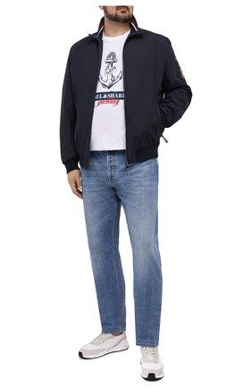 Мужская хлопковая футболка PAUL&SHARK белого цвета, арт. 21411081/C00/3XL-6XL | Фото 2 (Длина (для топов): Удлиненные; Стили: Спорт-шик; Материал внешний: Хлопок; Рукава: Короткие; Принт: С принтом)