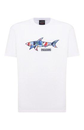 Мужская хлопковая футболка PAUL&SHARK белого цвета, арт. 21411097/C00/3XL-6XL | Фото 1 (Принт: С принтом; Стили: Кэжуэл; Длина (для топов): Удлиненные; Материал внешний: Хлопок; Рукава: Короткие)