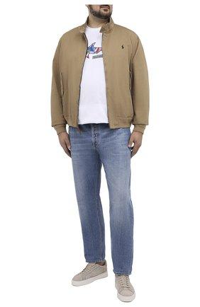 Мужская хлопковая футболка PAUL&SHARK белого цвета, арт. 21411097/C00/3XL-6XL | Фото 2 (Принт: С принтом; Стили: Кэжуэл; Длина (для топов): Удлиненные; Материал внешний: Хлопок; Рукава: Короткие)