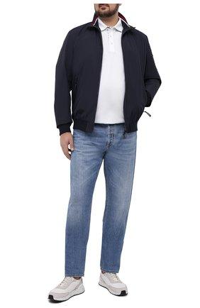 Мужское хлопковое поло PAUL&SHARK белого цвета, арт. 21411264/C00/3XL-6XL | Фото 2 (Стили: Кэжуэл; Рукава: Короткие; Застежка: Пуговицы; Длина (для топов): Удлиненные; Материал внешний: Хлопок)