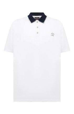 Мужское хлопковое поло PAUL&SHARK белого цвета, арт. 21411301/C00/3XL-6XL | Фото 1