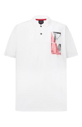 Мужское хлопковое поло PAUL&SHARK белого цвета, арт. 21411343/C00/3XL-6XL | Фото 1 (Застежка: Пуговицы; Стили: Кэжуэл; Длина (для топов): Удлиненные; Материал внешний: Хлопок; Рукава: Короткие)