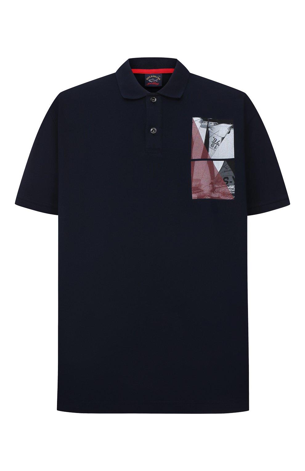 Мужское хлопковое поло PAUL&SHARK темно-синего цвета, арт. 21411343/C00/3XL-6XL | Фото 1