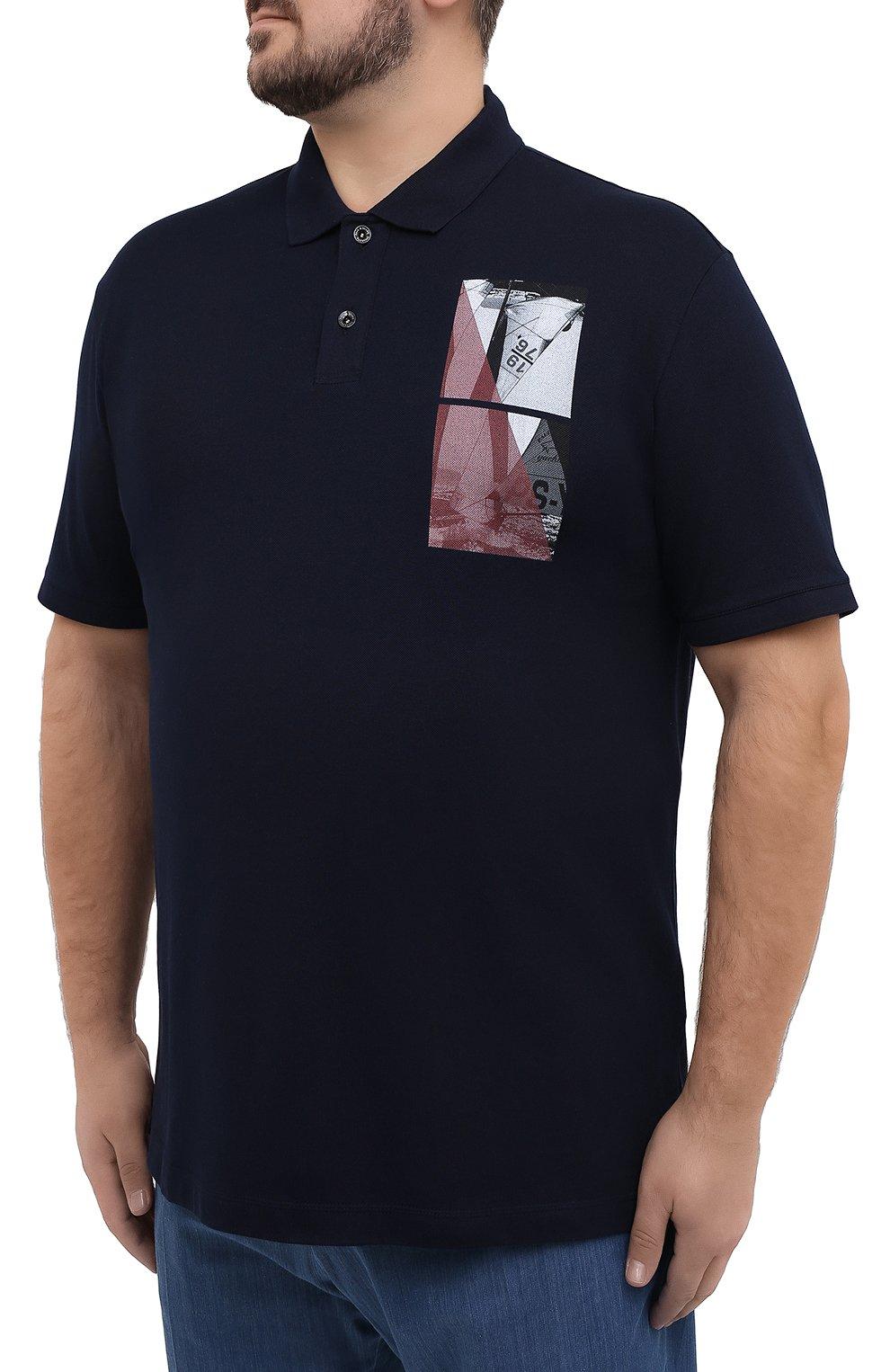 Мужское хлопковое поло PAUL&SHARK темно-синего цвета, арт. 21411343/C00/3XL-6XL | Фото 3