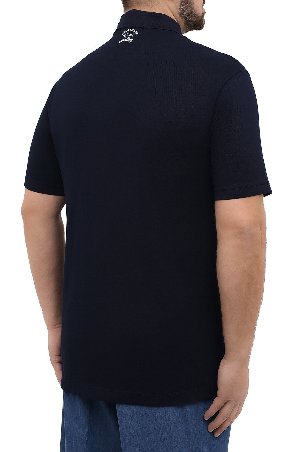 Мужское хлопковое поло PAUL&SHARK темно-синего цвета, арт. 21411343/C00/3XL-6XL | Фото 4