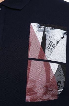 Мужское хлопковое поло PAUL&SHARK темно-синего цвета, арт. 21411343/C00/3XL-6XL | Фото 5