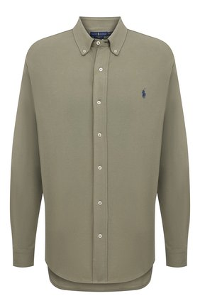 Мужская хлопковая рубашка POLO RALPH LAUREN зеленого цвета, арт. 711654408/C7998/PRL BS | Фото 1