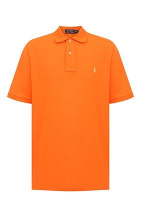 Мужское хлопковое поло POLO RALPH LAUREN оранжевого цвета, арт. 711534735/PRL BS | Фото 1 (Рукава: Короткие; Материал внешний: Хлопок; Стили: Кэжуэл; Застежка: Пуговицы; Big sizes: Big Sizes; Длина (для топов): Удлиненные)
