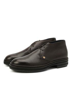 Мужские кожаные ботинки ZILLI коричневого цвета, арт. MDU-A095/003 | Фото 1 (Материал внутренний: Текстиль; Мужское Кросс-КТ: Дезерты-обувь, Ботинки-обувь; Подошва: Массивная)
