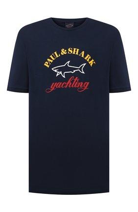 Мужская хлопковая футболка PAUL&SHARK темно-синего цвета, арт. C0P1006/C00/3XL-6XL | Фото 1