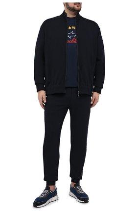 Мужская хлопковая футболка PAUL&SHARK темно-синего цвета, арт. C0P1006/C00/3XL-6XL | Фото 2