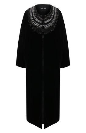 Женское бархатное пальто GIORGIO ARMANI черного цвета, арт. 0WH0L06B/T028Q | Фото 1