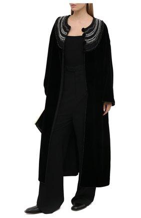 Женское бархатное пальто GIORGIO ARMANI черного цвета, арт. 0WH0L06B/T028Q | Фото 2