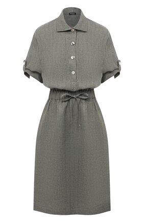 Женское льняное платье KITON хаки цвета, арт. D49305K09T41 | Фото 1