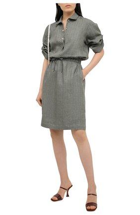 Женское льняное платье KITON хаки цвета, арт. D49305K09T41 | Фото 2