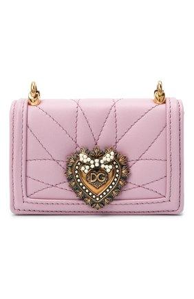 Женская сумка devotion mini DOLCE & GABBANA светло-розового цвета, арт. BI1399/AJ114   Фото 1 (Размер: mini; Сумки-технические: Сумки через плечо; Ремень/цепочка: С цепочкой, На ремешке; Материал: Натуральная кожа; Женское Кросс-КТ: Вечерняя сумка)