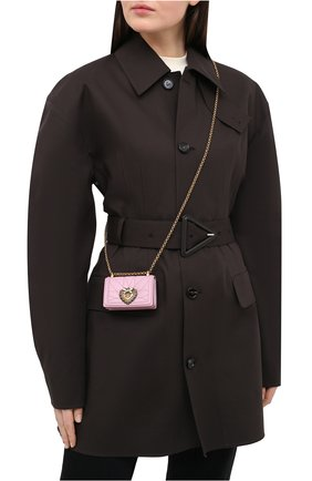 Женская сумка devotion mini DOLCE & GABBANA светло-розового цвета, арт. BI1399/AJ114   Фото 2 (Размер: mini; Сумки-технические: Сумки через плечо; Ремень/цепочка: С цепочкой, На ремешке; Материал: Натуральная кожа; Женское Кросс-КТ: Вечерняя сумка)