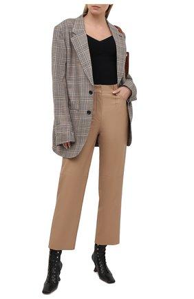 Женские кожаные брюки DROME бежевого цвета, арт. DPD1947P/D400P | Фото 2