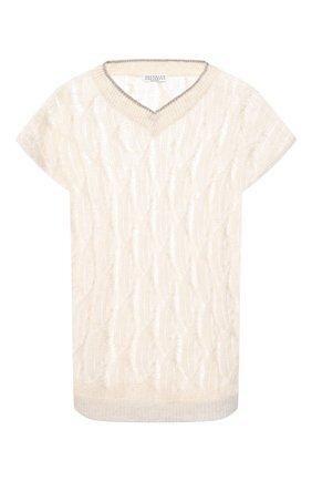 Женский пуловер из льна и шелка BRUNELLO CUCINELLI кремвого цвета, арт. MAM585512 | Фото 1