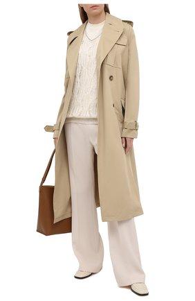 Женский пуловер из льна и шелка BRUNELLO CUCINELLI кремвого цвета, арт. MAM585512 | Фото 2