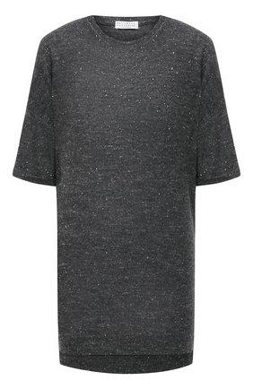 Женский пуловер из кашемира и шелка BRUNELLO CUCINELLI темно-серого цвета, арт. MAI198910 | Фото 1