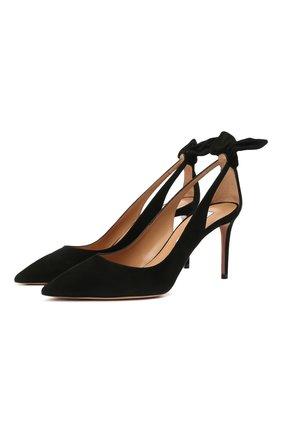 Женские замшевые туфли bow tie 85 AQUAZZURA черного цвета, арт. DENMIDP0-SUE-000 | Фото 1