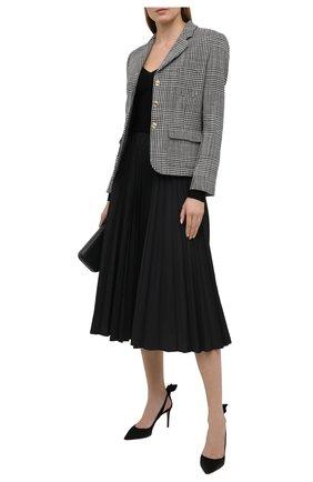 Женские замшевые туфли bow tie 85 AQUAZZURA черного цвета, арт. DENMIDP0-SUE-000 | Фото 2