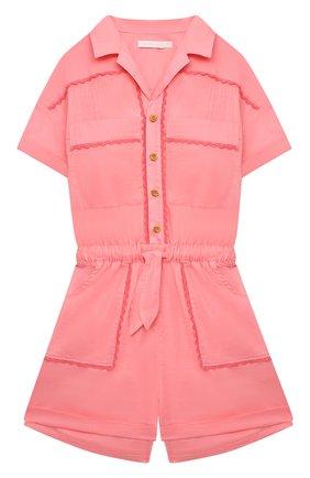 Детского хлопковый комбинезон ZIMMERMANN розового цвета, арт. 9438YP0P | Фото 1