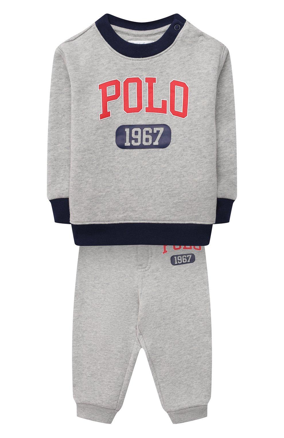 Детский комплект из свитшота и брюк POLO RALPH LAUREN серого цвета, арт. 320836008 | Фото 1