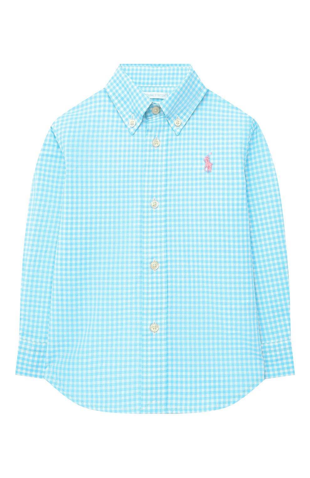 Детский хлопковая рубашка POLO RALPH LAUREN бирюзового цвета, арт. 320833517 | Фото 1