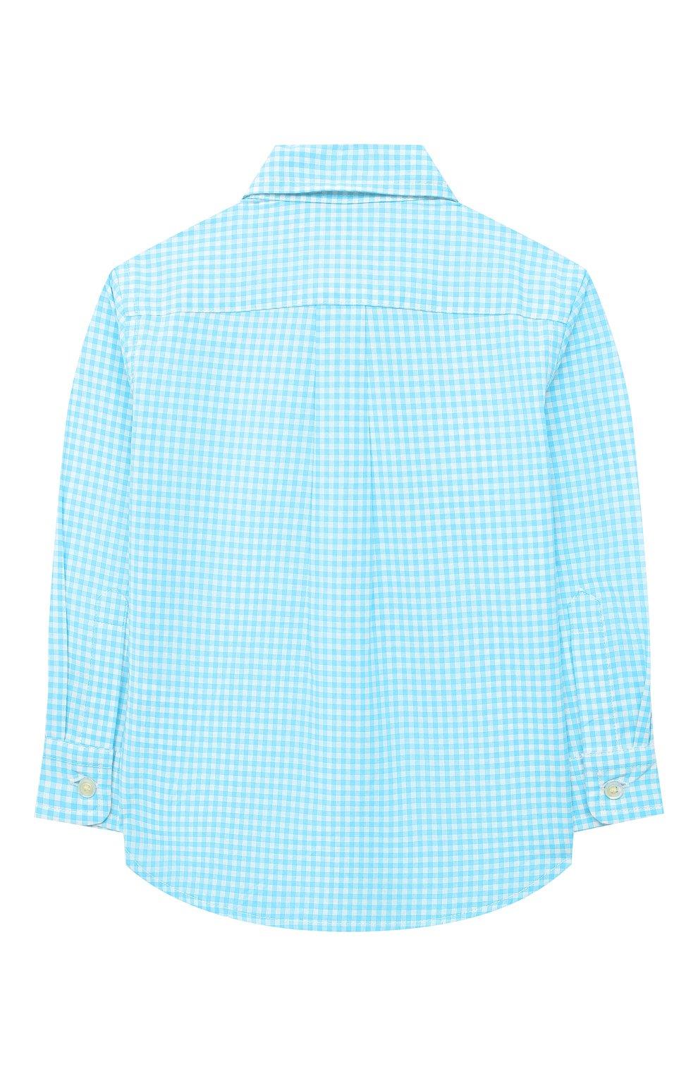 Детский хлопковая рубашка POLO RALPH LAUREN бирюзового цвета, арт. 320833517 | Фото 2