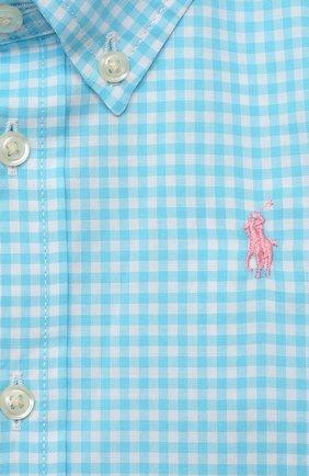 Детский хлопковая рубашка POLO RALPH LAUREN бирюзового цвета, арт. 320833517 | Фото 3