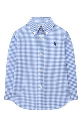 Детский хлопковая рубашка POLO RALPH LAUREN синего цвета, арт. 320833517 | Фото 1