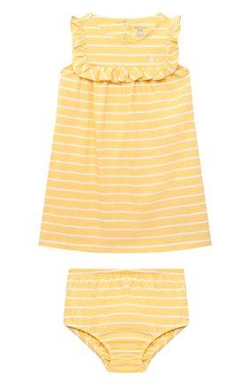 Женский комплект из платья и шорт POLO RALPH LAUREN желтого цвета, арт. 310833390 | Фото 1