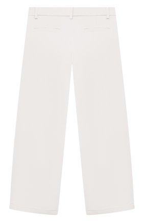 Детские хлопковые брюки LORO PIANA белого цвета, арт. FAL5085 | Фото 2 (Материал внешний: Хлопок; Девочки Кросс-КТ: Брюки-одежда; Ростовка одежда: 10 - 11 лет | 140 - 146см, 12 лет | 152 см, 4 года | 104 см, 6 лет | 116 см, 8 лет | 128 см)