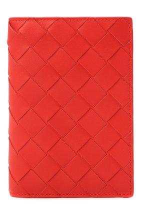 Мужской кожаная обложка для паспорта BOTTEGA VENETA красного цвета, арт. 607482/VCPQ4 | Фото 1