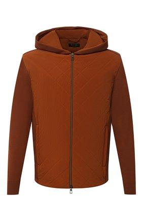 Мужская утепленная куртка LORO PIANA коричневого цвета, арт. FAL5182   Фото 1 (Материал внешний: Синтетический материал; Длина (верхняя одежда): Короткие; Стили: Кэжуэл; Рукава: Длинные; Кросс-КТ: Ветровка, Куртка; Материал подклада: Синтетический материал)