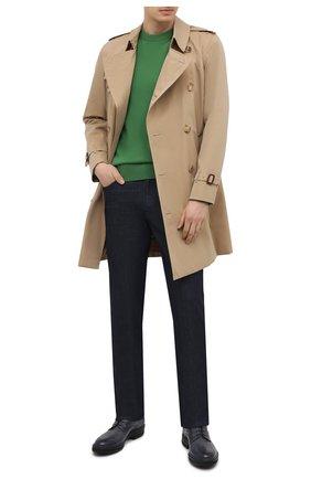 Мужской кашемировый свитер LORO PIANA зеленого цвета, арт. FAL3426 | Фото 2 (Принт: Без принта; Материал внешний: Шерсть, Кашемир; Длина (для топов): Стандартные; Рукава: Длинные; Мужское Кросс-КТ: Свитер-одежда; Стили: Кэжуэл)