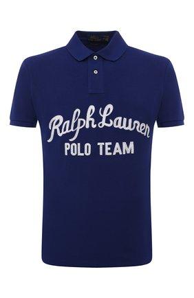 Мужское хлопковое поло POLO RALPH LAUREN темно-синего цвета, арт. 710835793 | Фото 1