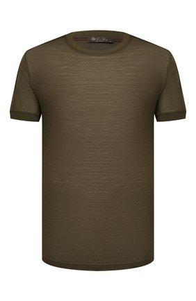 Мужская шерстяная футболка LORO PIANA хаки цвета, арт. FAL6133   Фото 1