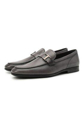 Мужские кожаные лоферы TOD'S темно-серого цвета, арт. XXM51B0EB00D9C   Фото 1 (Мужское Кросс-КТ: Лоферы-обувь; Стили: Классический; Материал внутренний: Натуральная кожа)