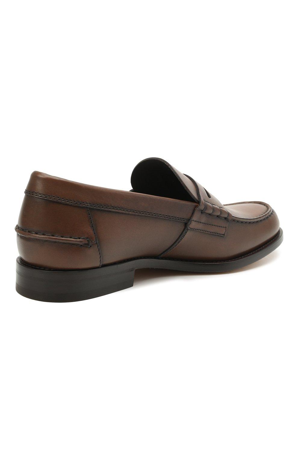 Мужские кожаные пенни-лоферы TOD'S коричневого цвета, арт. XXM26C0C050D9C   Фото 4 (Мужское Кросс-КТ: Лоферы-обувь; Материал внутренний: Натуральная кожа; Стили: Классический)