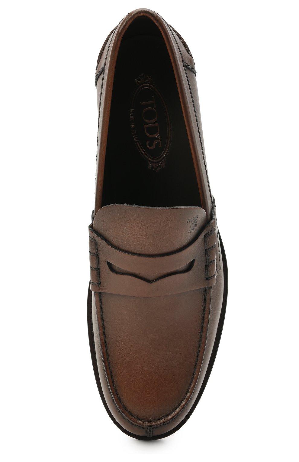 Мужские кожаные пенни-лоферы TOD'S коричневого цвета, арт. XXM26C0C050D9C   Фото 5 (Мужское Кросс-КТ: Лоферы-обувь; Материал внутренний: Натуральная кожа; Стили: Классический)