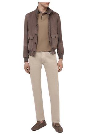 Мужские кожаные мокасины TOD'S светло-коричневого цвета, арт. XXM0GW0CT566RN   Фото 2