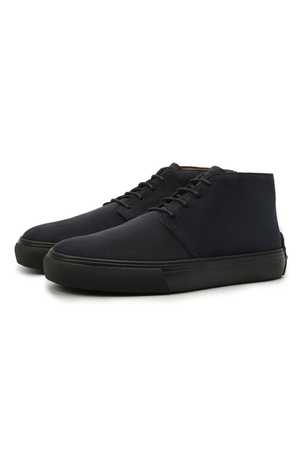 Мужские замшевые ботинки TOD'S темно-синего цвета, арт. XXM03E0EA50RE0 | Фото 1 (Мужское Кросс-КТ: Ботинки-обувь; Материал внутренний: Натуральная кожа; Подошва: Массивная; Материал внешний: Замша)