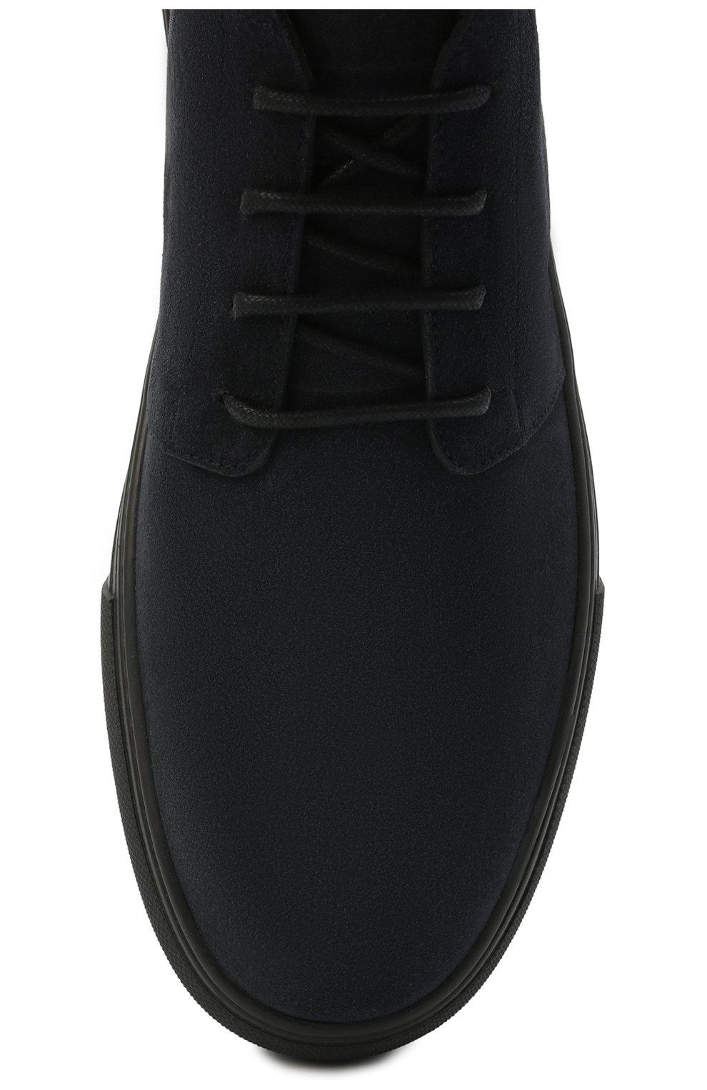 Мужские замшевые ботинки TOD'S темно-синего цвета, арт. XXM03E0EA50RE0 | Фото 5 (Мужское Кросс-КТ: Ботинки-обувь; Материал внутренний: Натуральная кожа; Подошва: Массивная; Материал внешний: Замша)