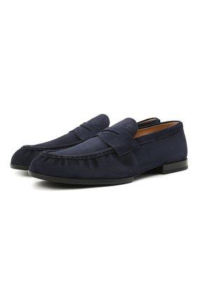Мужские замшевые пенни-лоферы TOD'S темно-синего цвета, арт. XXM02E0EC600A6 | Фото 1 (Стили: Кэжуэл; Мужское Кросс-КТ: Лоферы-обувь; Материал внутренний: Натуральная кожа; Материал внешний: Замша)