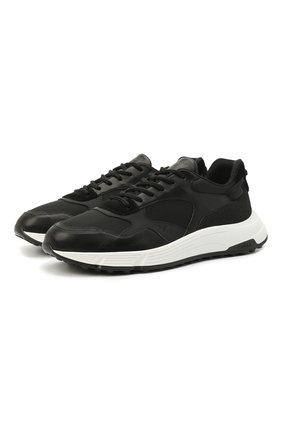 Мужские комбинированные кроссовки HOGAN черного цвета, арт. HXM5630DM90PJW | Фото 1