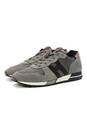 Мужские комбинированные кроссовки HOGAN серого цвета, арт. HXM3830AN51PNQ | Фото 1