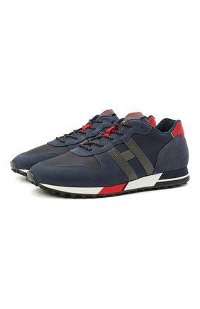Мужские комбинированные кроссовки HOGAN темно-синего цвета, арт. HXM3830AN51PGI | Фото 1
